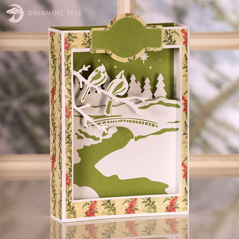 Cardinals Paperscape Box Card - Beautiful Christmas Card SVG ...