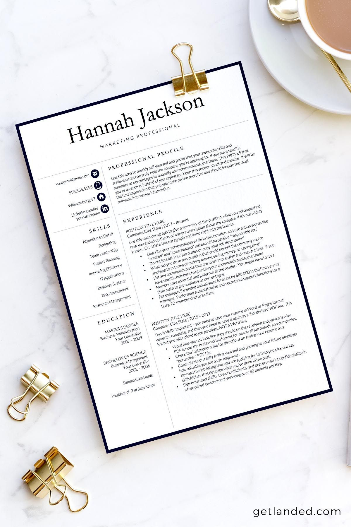 Professional Resume Template For Word And Pages  Professional