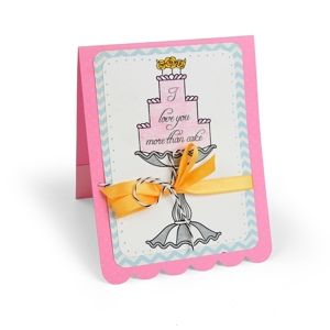 Love You More Than Cake Card  Bring on the cake! Stamp like never before with our Interchangeable Clear Stamps, which feature a number of sentiments for more delicious and dazzling options!
