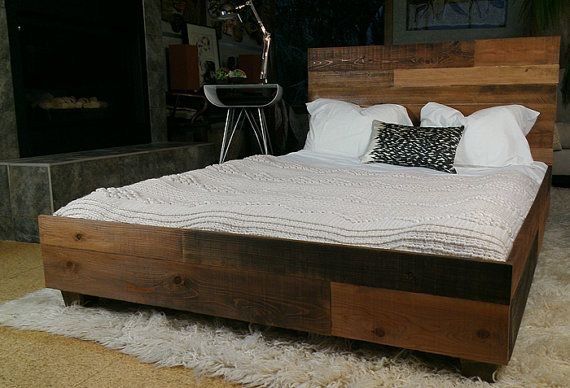 Reclaimed Wood Industrial Platform Bed Frame Industrial Platform