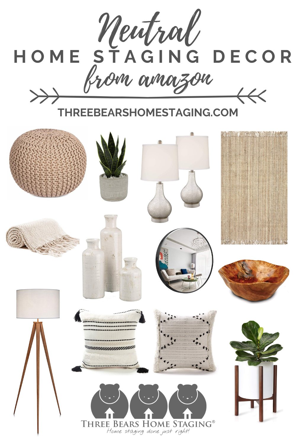 """Did you know that rooms that have too many personal items, too much furniture, or even too much """"color clutter"""" can actually make your home appear smaller, more cramped, and less inviting to potential buyers?...  #homestaging #amazon #homedecor #neutral"""
