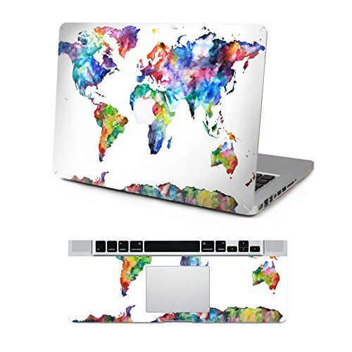 Decalshut color world map laptop stickers removable skin top decal for macbook pro 13 inch decalshut