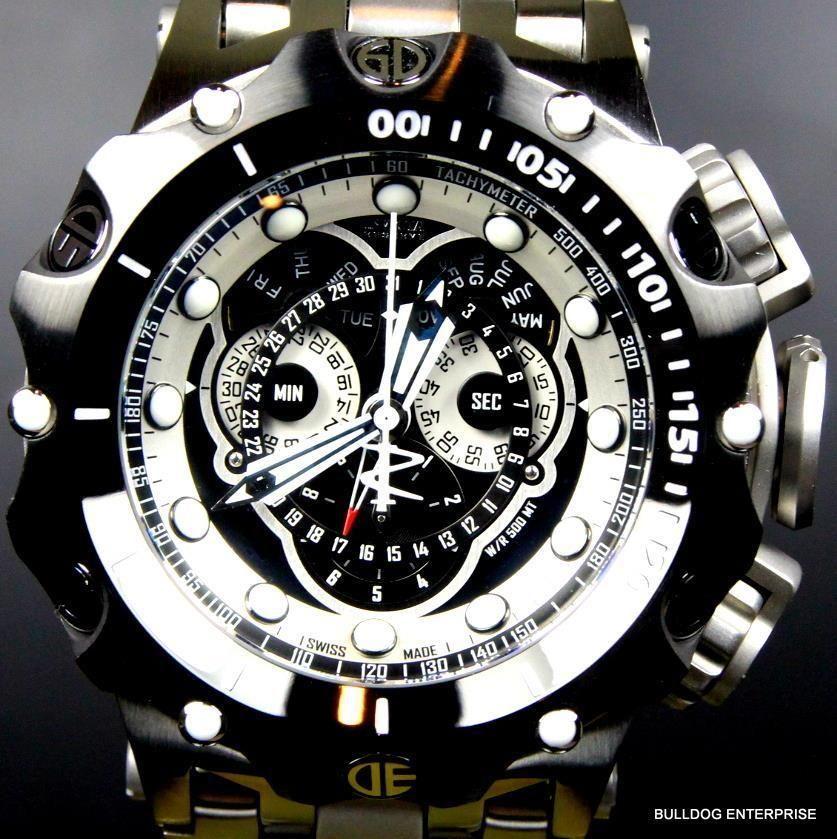 dddc83b3315 Preto Reserve Venom Invicta híbrido calendário mestre Aço Novo Relógio  Feito Na Suíça