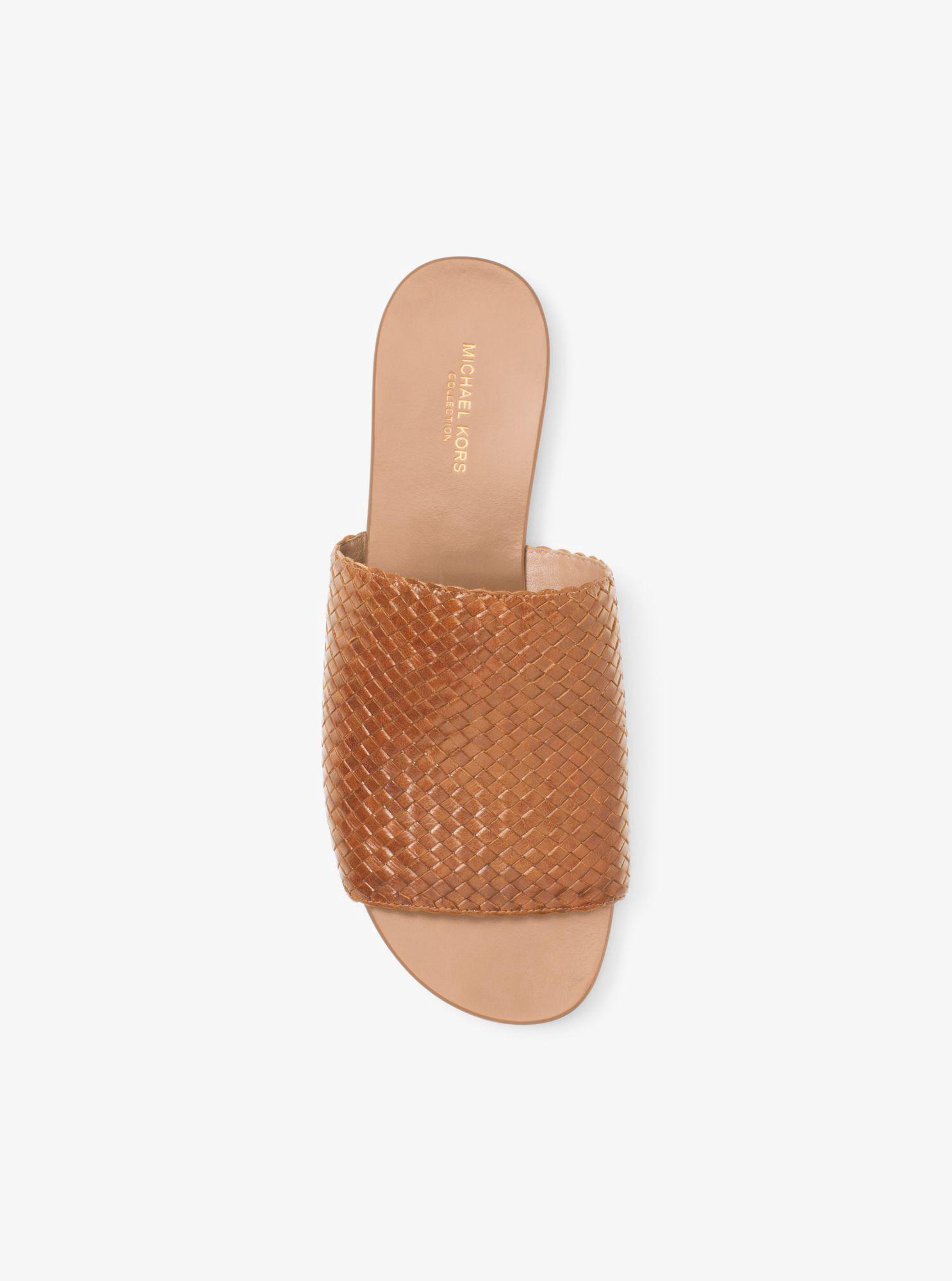 MICHAEL KORS Byrne Woven-Leather Slide. #michaelkors #shoes #all