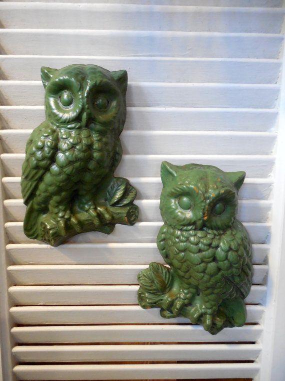 1970s Home Decor Avocado Green Owl Wall Plaques By Beadgarden55 12 00