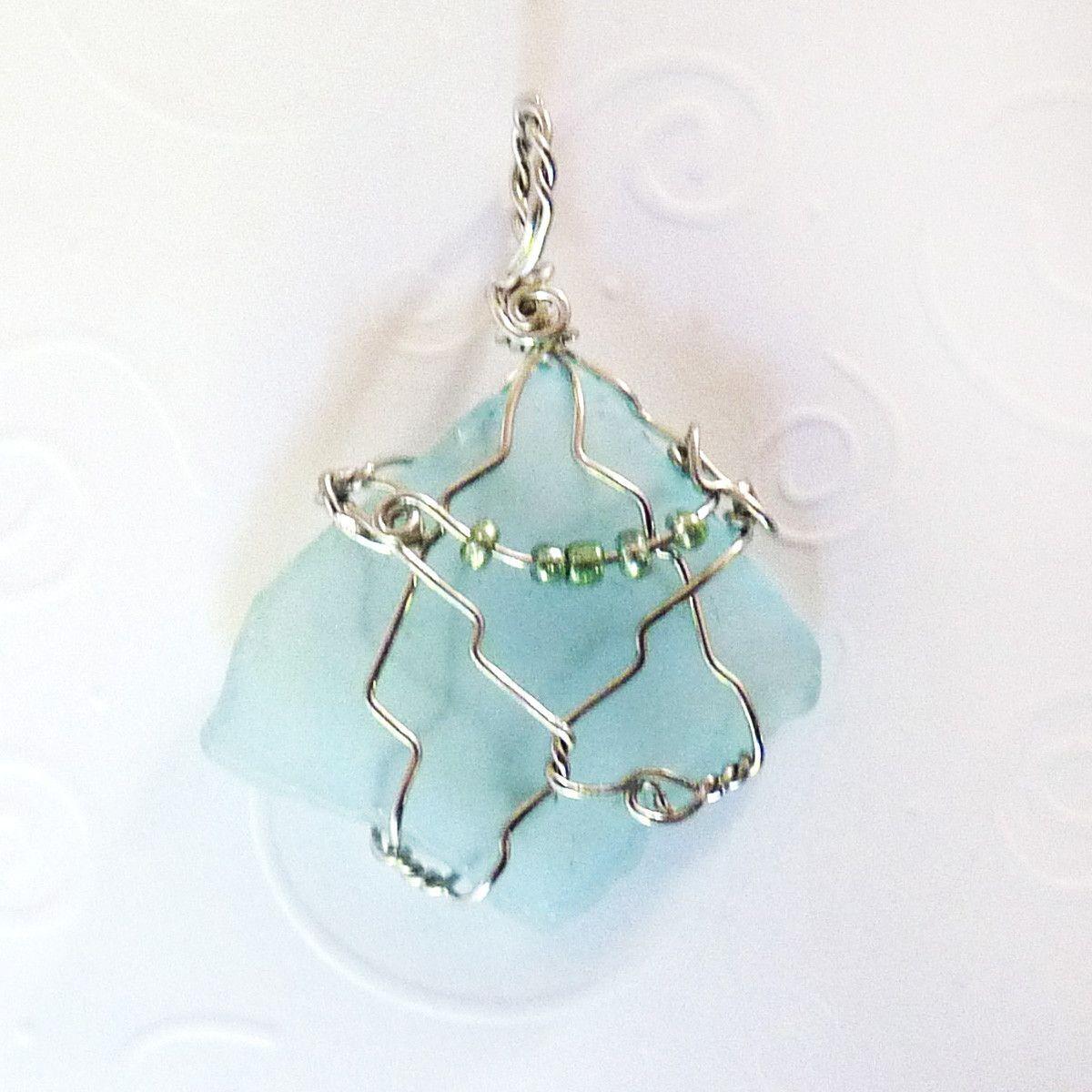 Cultured Sea Glass Pendant - Aqua & Silver Diamond, Wire Wrapped ...