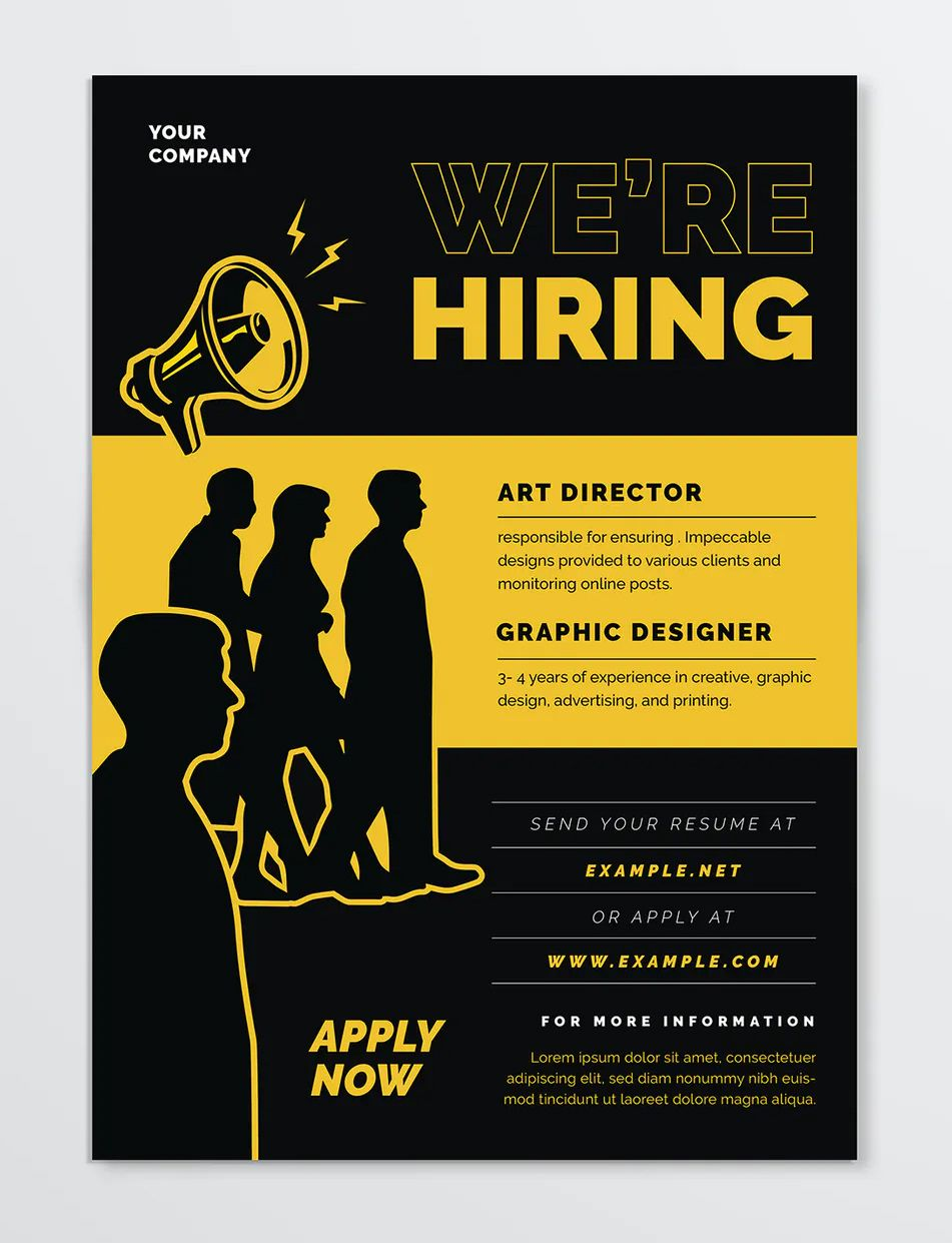 We Are Hiring Flyer Design Recruitment Poster Design Flyer Design Templates Hiring Poster Now hiring flyer template free