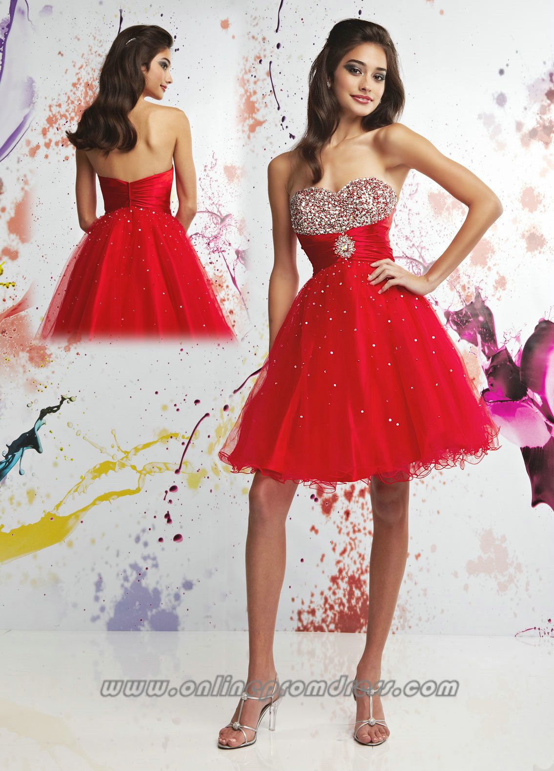 Sweetheart Full Bead Trimed Short Red Lovely Girl Prom Dress ...