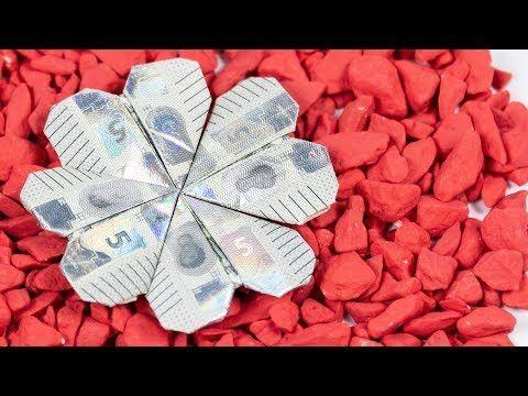 Geldschein falten 🍀 Kleeblatt aus Geld falten - YouTube