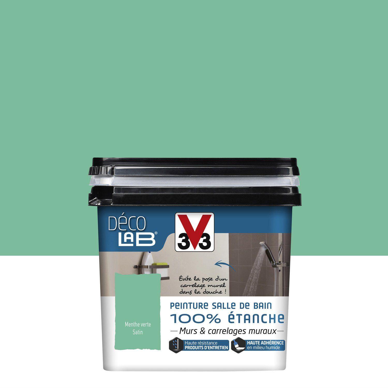 Peinture Décolab 100% étanche V33, Menthe Verte, 0.75L | Leroy Merlin