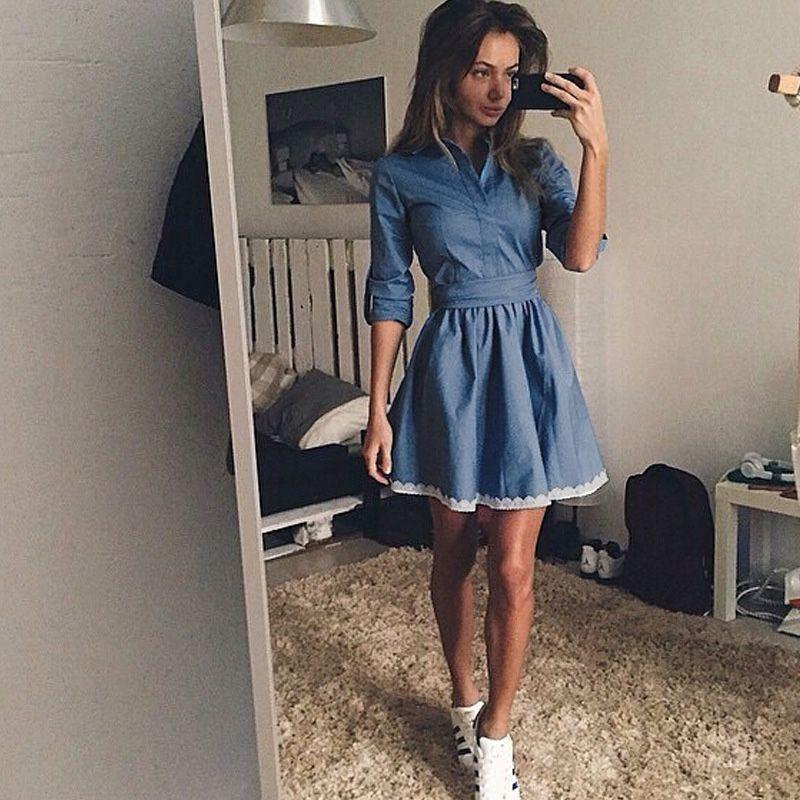 37ed850b1d9fd7e Женщины джинсовые стенд воротом мода уменьшают подходящие моде элегантный  сладкий свободного покроя Sexy линия мини платье