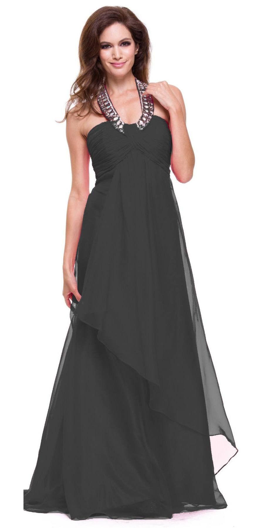 Halter Dress Corporate Event Long Soft Chiffon Empire Waist