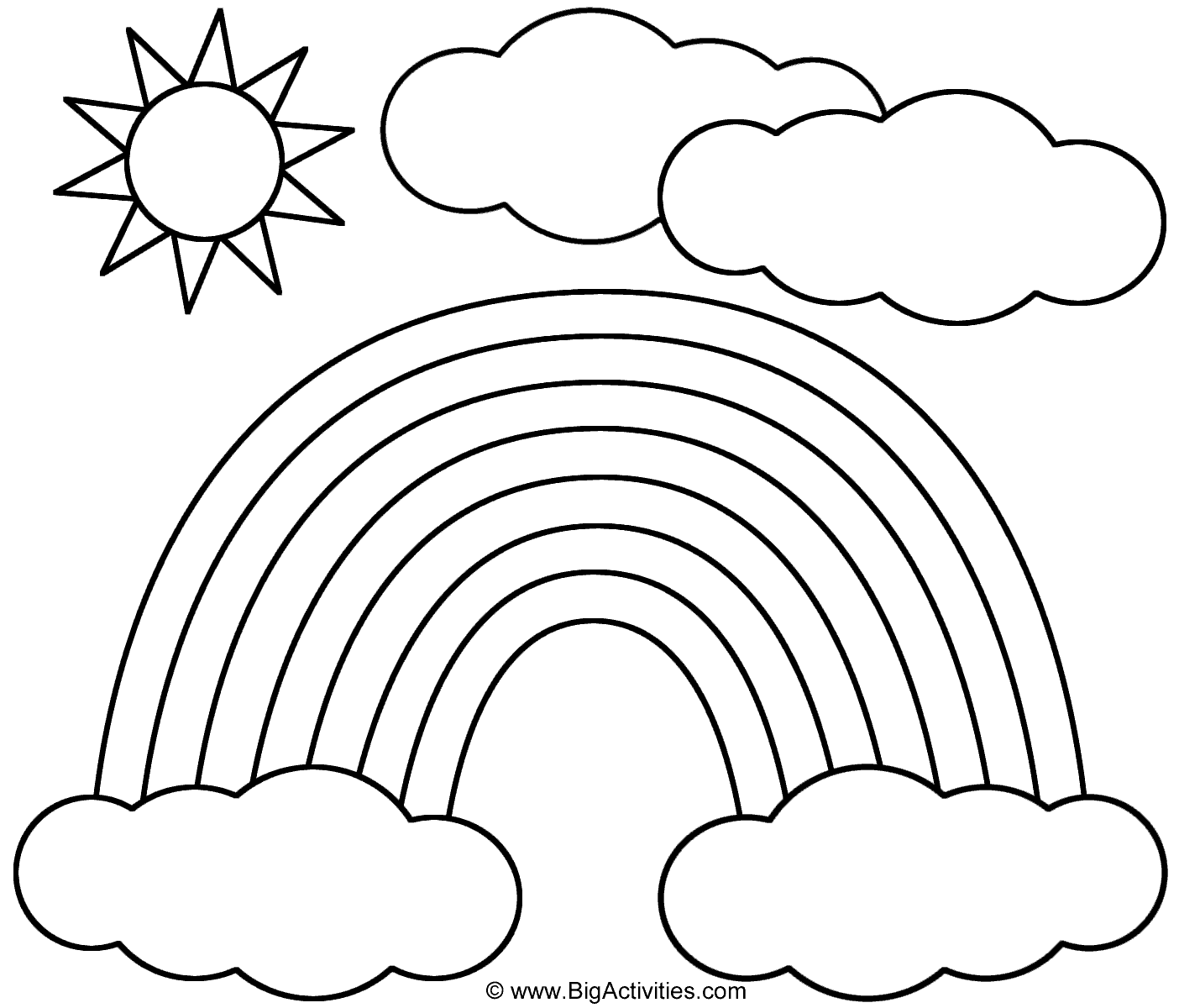 Coloring Page Rainbow Drawing Sun Coloring Pages Kids Printable Coloring Pages