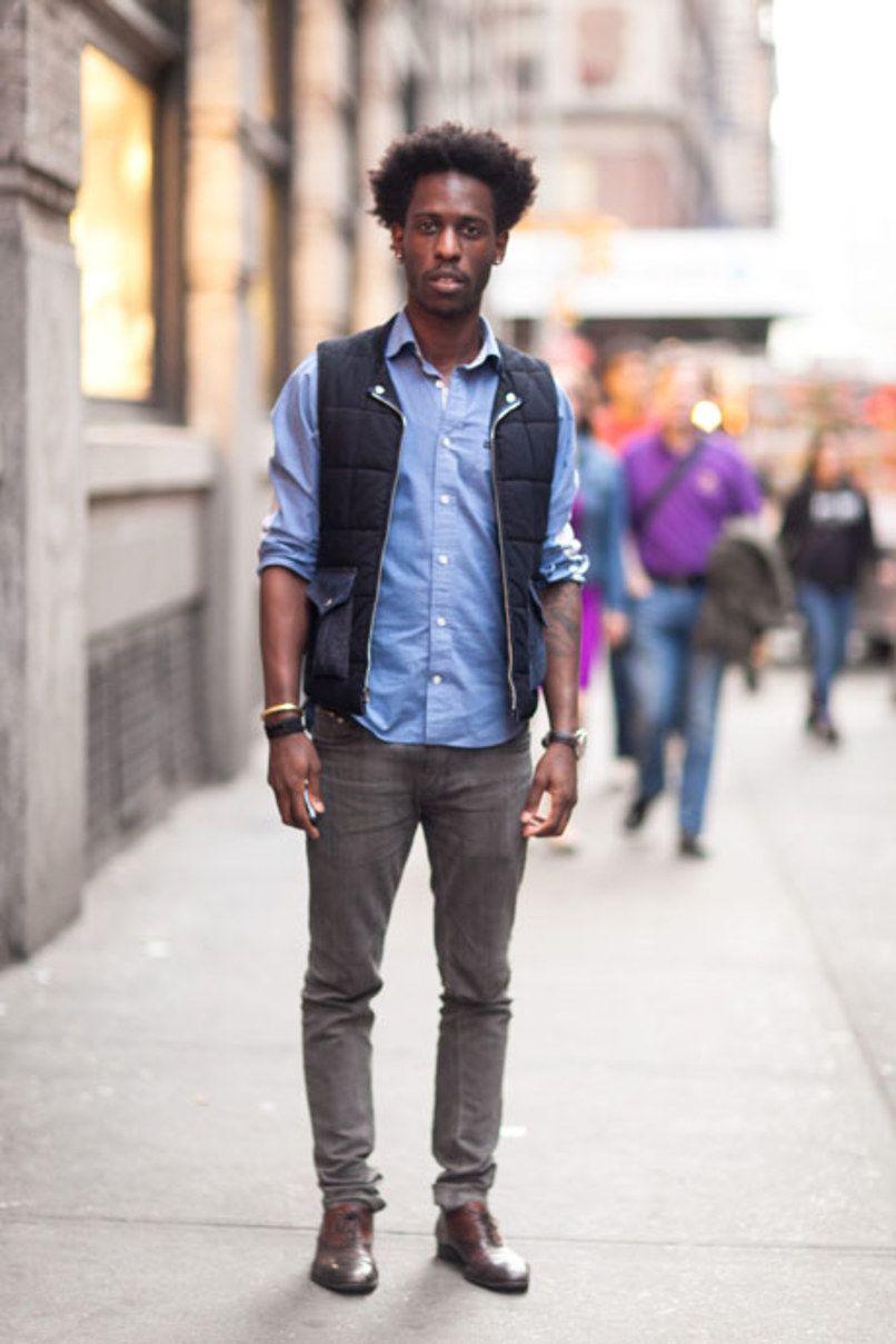 s black gilet light blue sleeve shirt grey