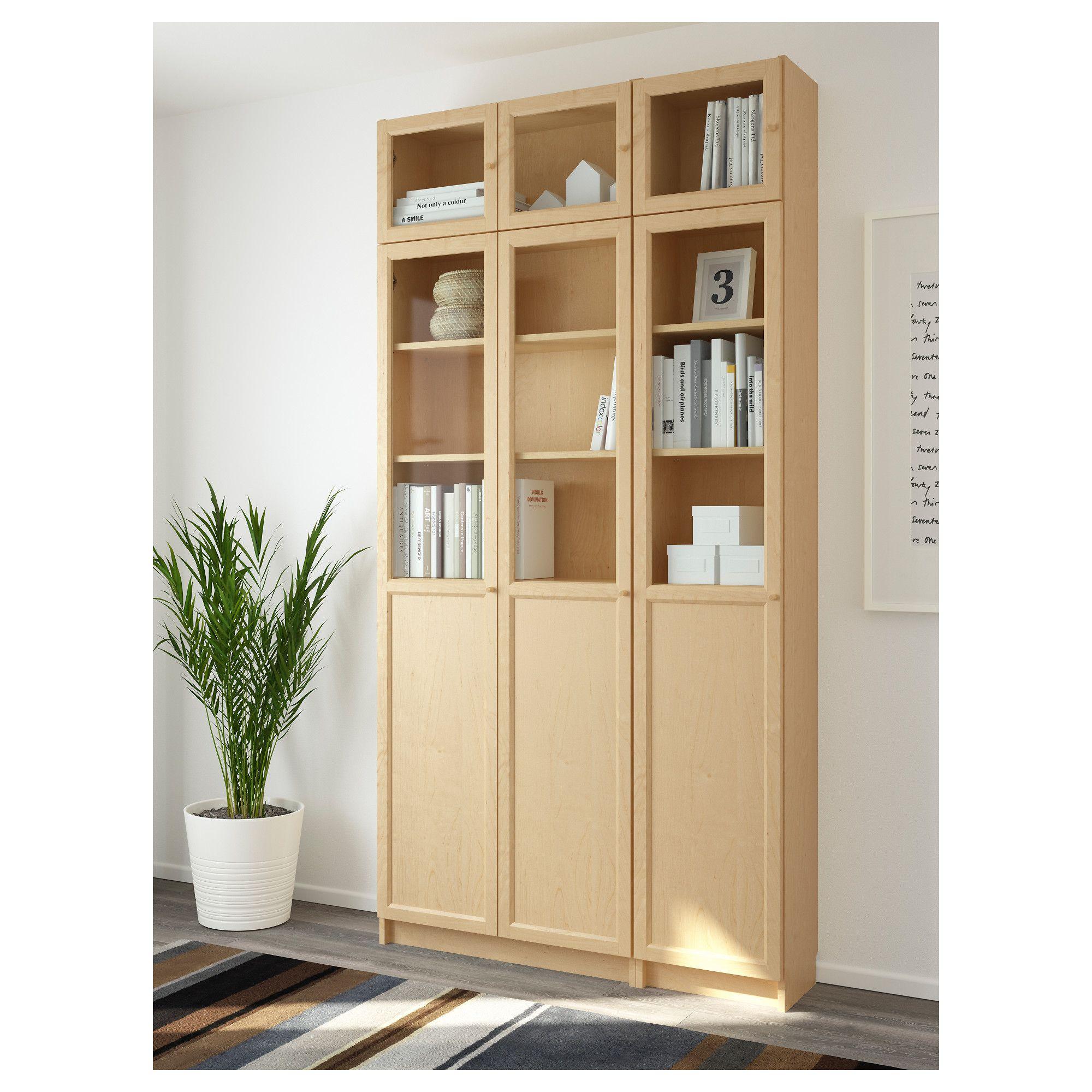 IKEA - BILLY / OXBERG Bookcase birch veneer, glass ...