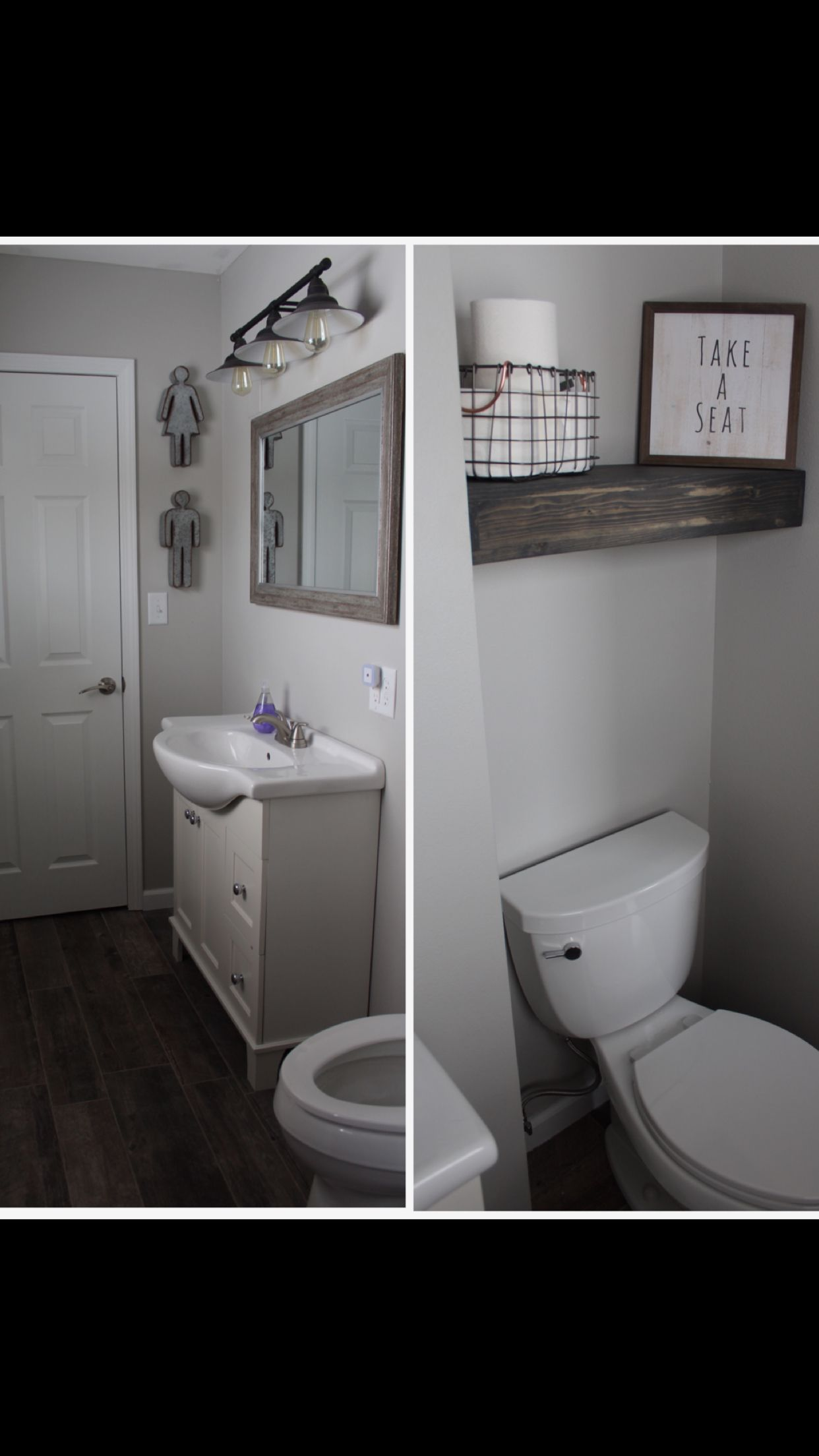 Rustic/Modern Bathroom with finds from hobby lobby, target ...