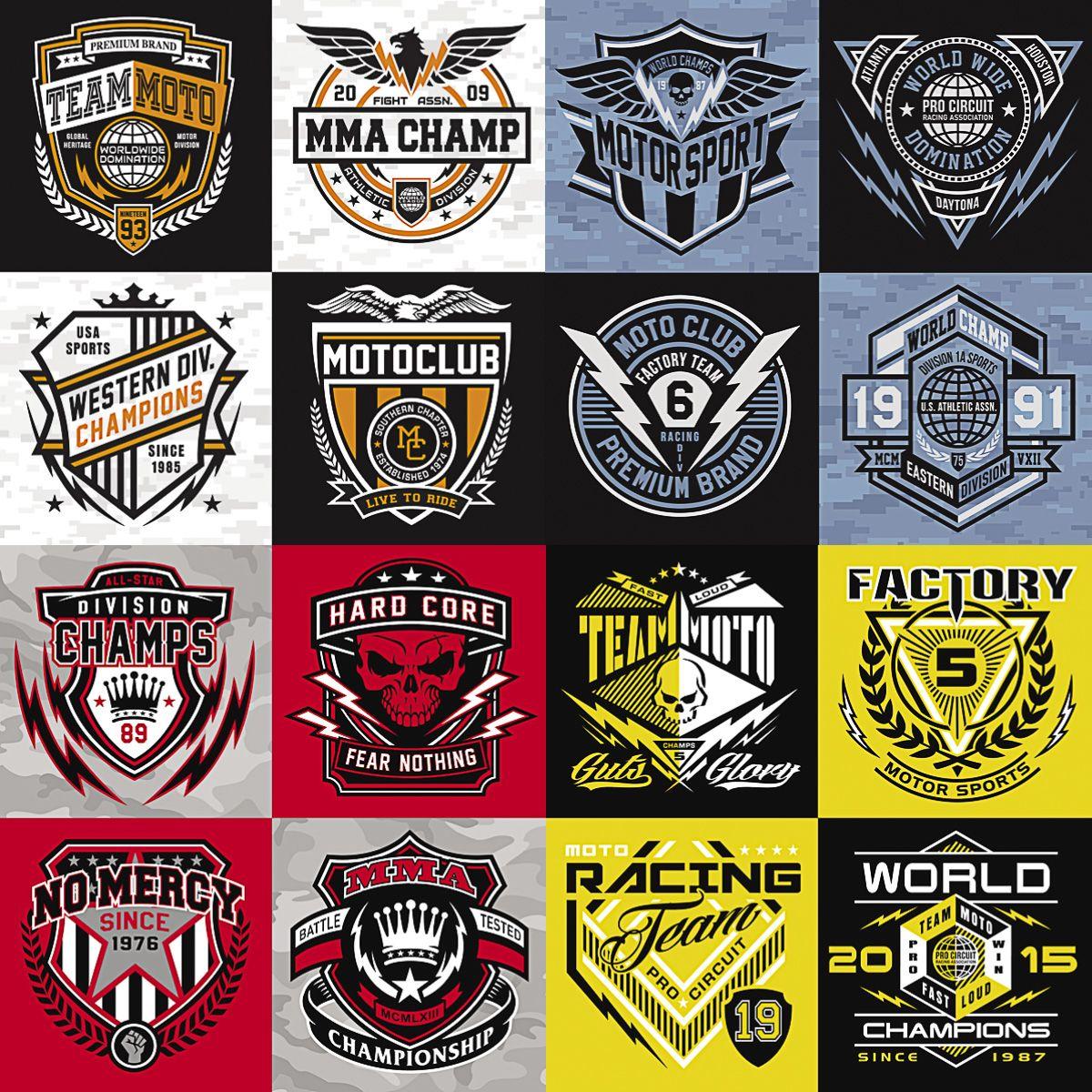 Set Of Vector Moto Club Team Moto Racing Team Motor Sport And Other Logos For Motorcycles Logo Design Logos Moto Logo