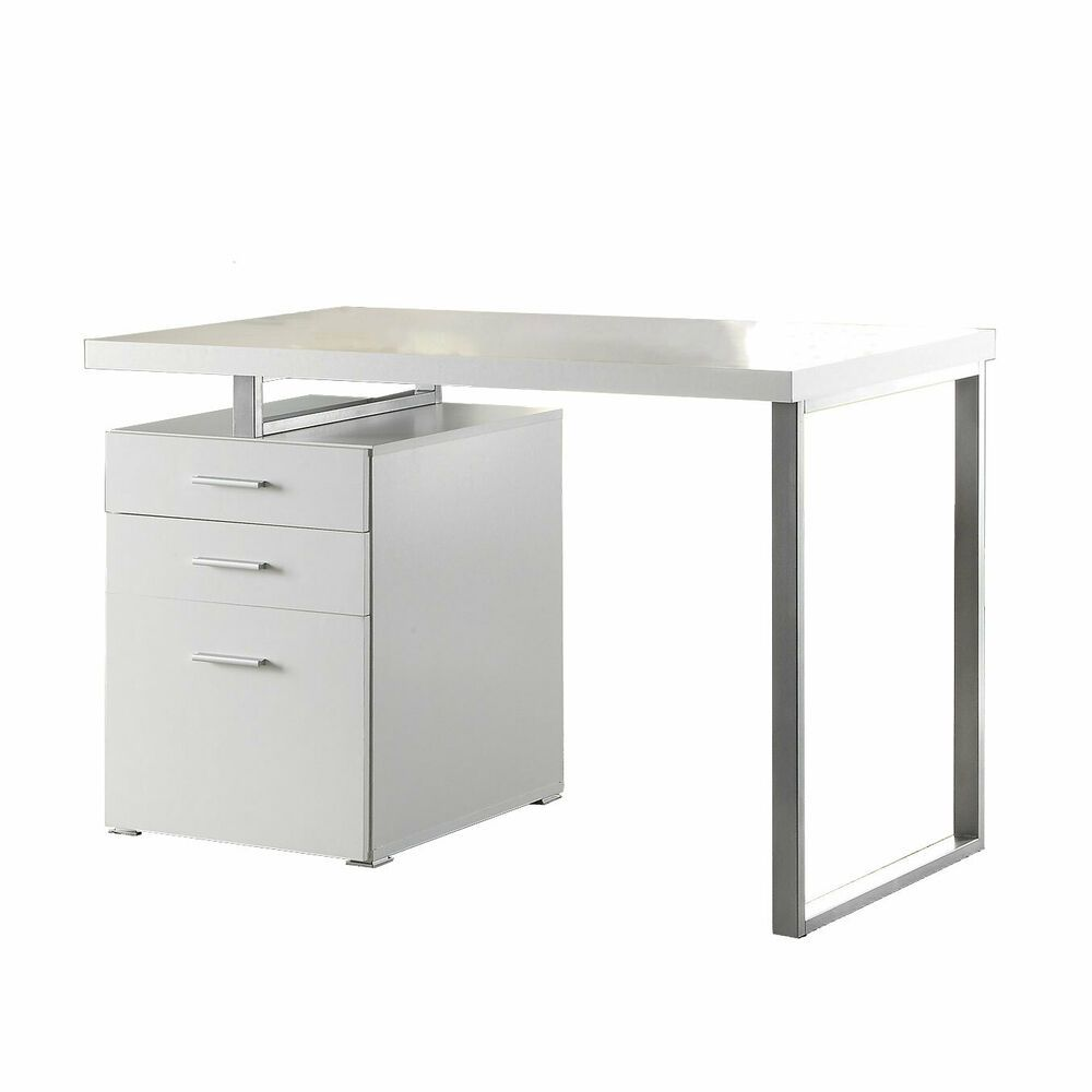 Coaster Home Furniture Home Office File Drawer Writing Desk White And Silver Affilink Desk Writingtable Desksetup In 2019 Coaster Furniture Writing Desk Furniture