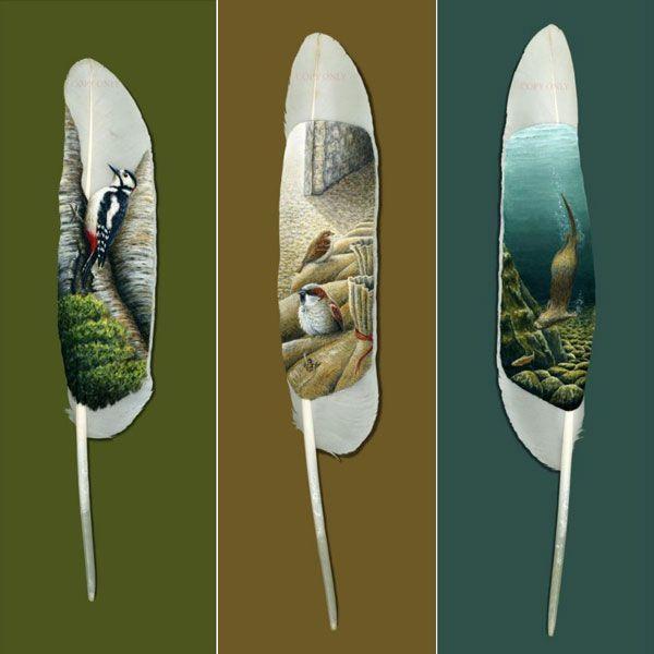 Art by Ian Davie: drawings on feathers