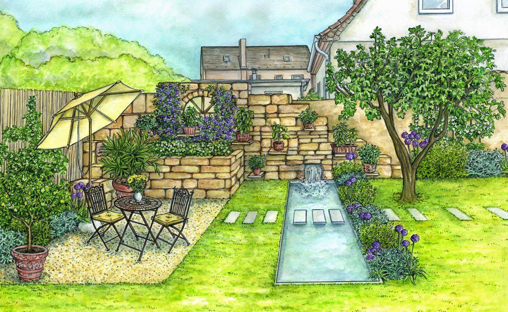 1 Garten 2 Ideen Gestaltungsideen Fur Einen Tristen Gartenbereich Garten Garten Grundriss Gartenschirme