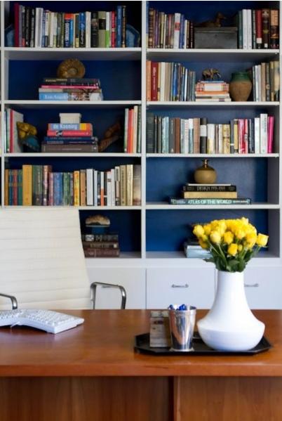 Dark Blue Wall White Bookshelves White Bookshelves Home Home Decor