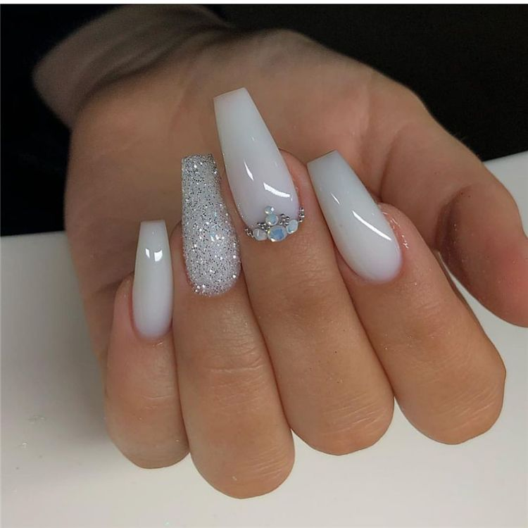50 Dreamy And Stunning Glitter Arcylic Coffin Nail Designs You Need To Know Page 24 Of 50 Women Fashion Lifestyle Blog Shinecoco Com In 2020 Ballerina Nails Coffin Nails Designs White Nail Designs
