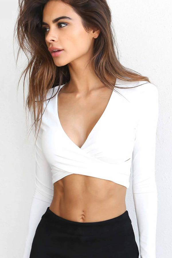 f69789ef2 Sexy White Women's Crop Top Criss Cross Long Sleeve Belly Shirt for Teens.  Teen Outfit Ideas. Styles of the Week. Crop Tops for Teens ...