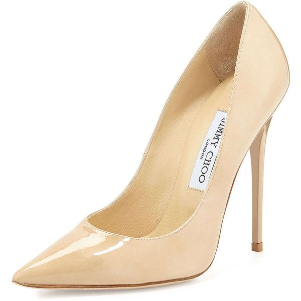 Jimmy Choo Anouk Patent Leather Pump, Nude - Shoes Post