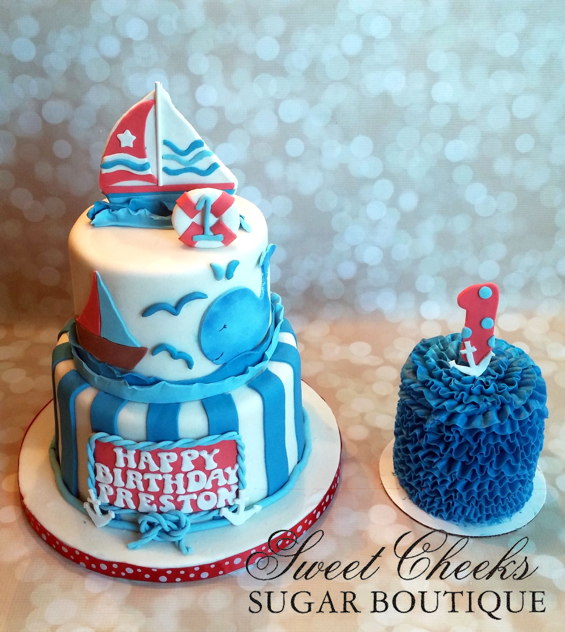 A Nautical Themed Cake And Matching Smash Cake For Preston