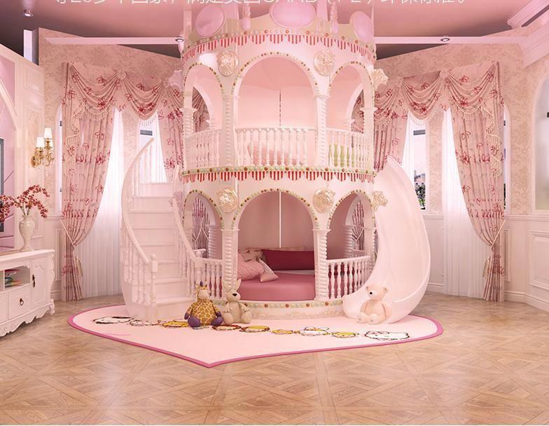Bedroom Princess Girl Slide Children Bed , Lovely Single ...