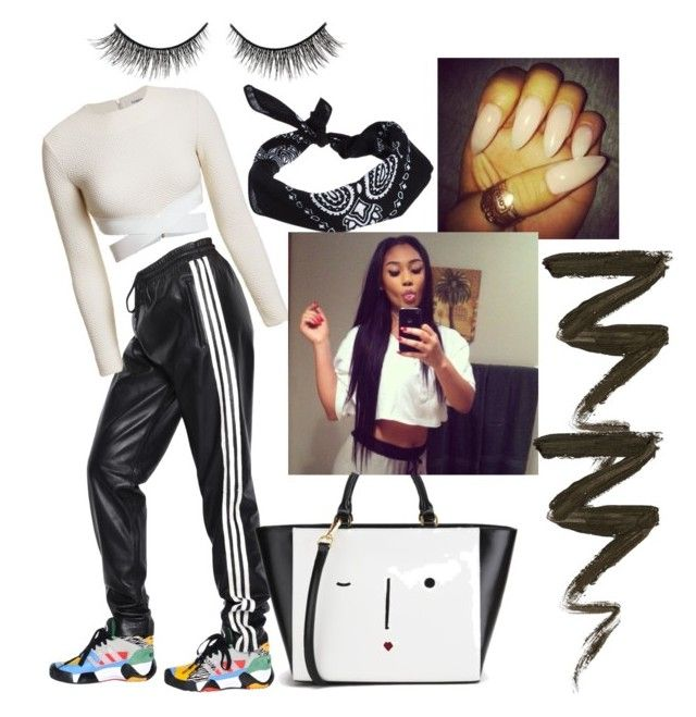 """""""Bored Fleeky Fleek"""" by officallybri212 ❤ liked on Polyvore featuring adidas, ASOS, Elizabeth and James, Lulu Guinness and Rimini"""