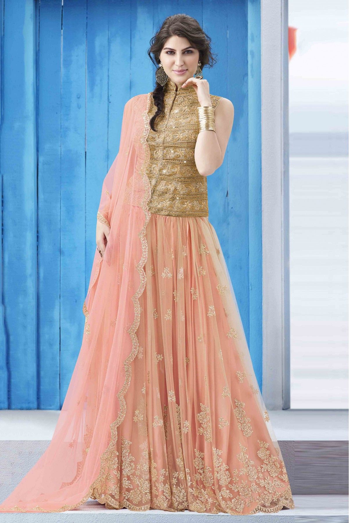 643d31d80a3 Peach Colour Net Fabric Party Wear Lehenga Comes With Matching Zari Kota  Fabric Blouse. This Lehenga Is Crafted With Stone Work
