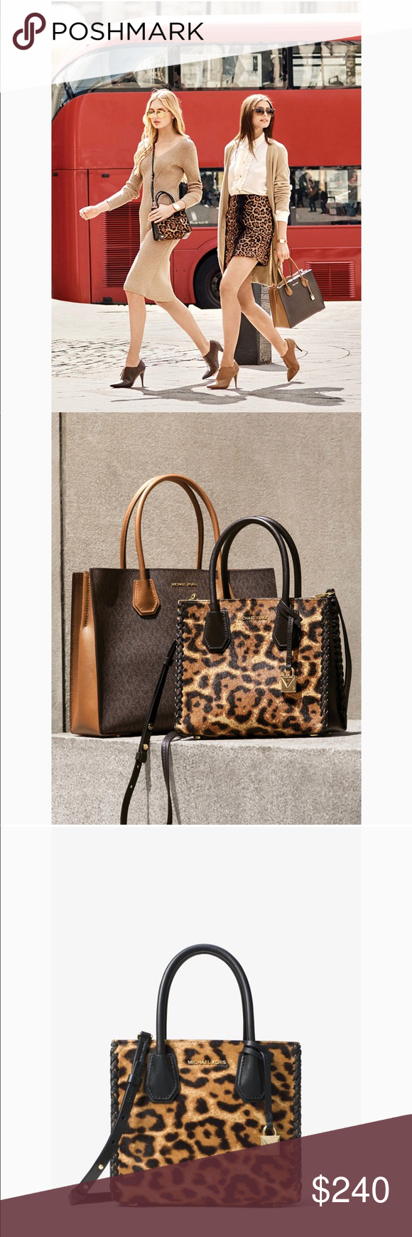 42d4e7d12207 Michael Kors Mercer leopard calf hair crossbody Finished with smooth  leather tophandles and our new minimalist lock charm, this carryall  combines signature ...
