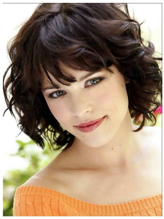 Short Curly Hairstyles For Round Faces Image Result For Dark Curly Hair And Fringe  Hairstyle  Pinterest