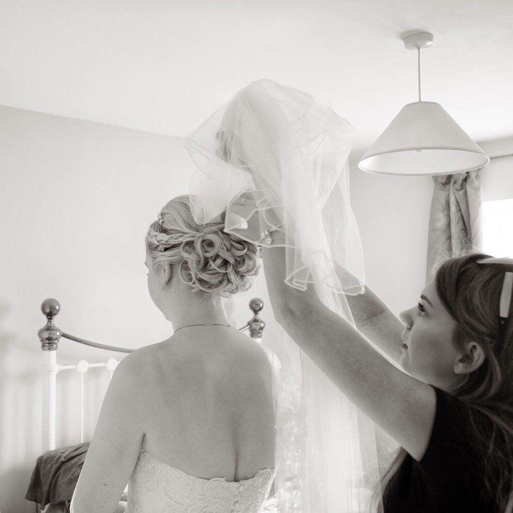 Wedding hair up, curly plait veil tiara | Wedding hair | Pinterest ...