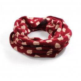 Red Soft Snood with Cream Heart Print