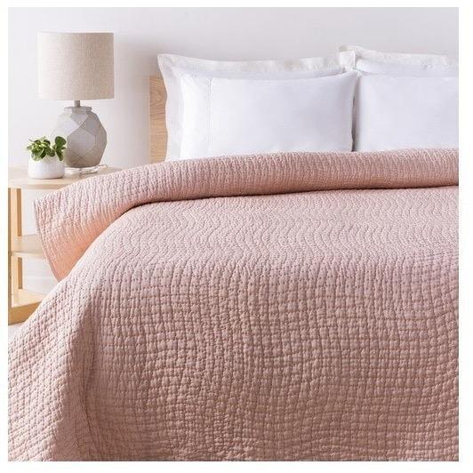 Alba Solid Blush Pink Quilt Pink Bedding Pink Quilts Bedroom Decor