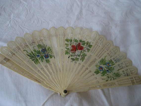 ANTIQUE Pierced Bone Hand Painted Floral French Brise by abandc