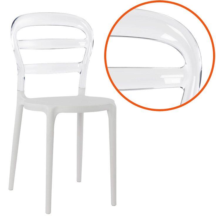 Chaise Design Baro Blanche Et Transparente En Matiere Plastique