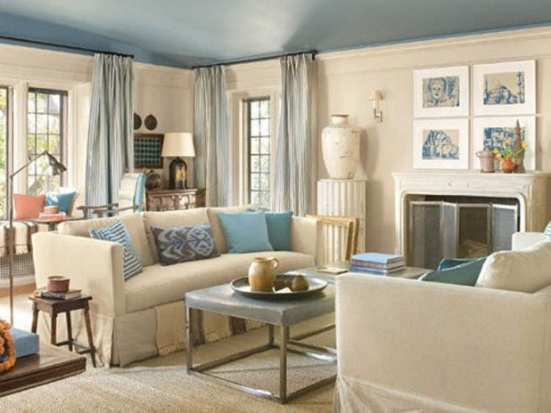 Pale Blue And Cream Room  Unusual Ceiling Treatment But Maybe Stunning Blue Color Living Room Designs Design Inspiration