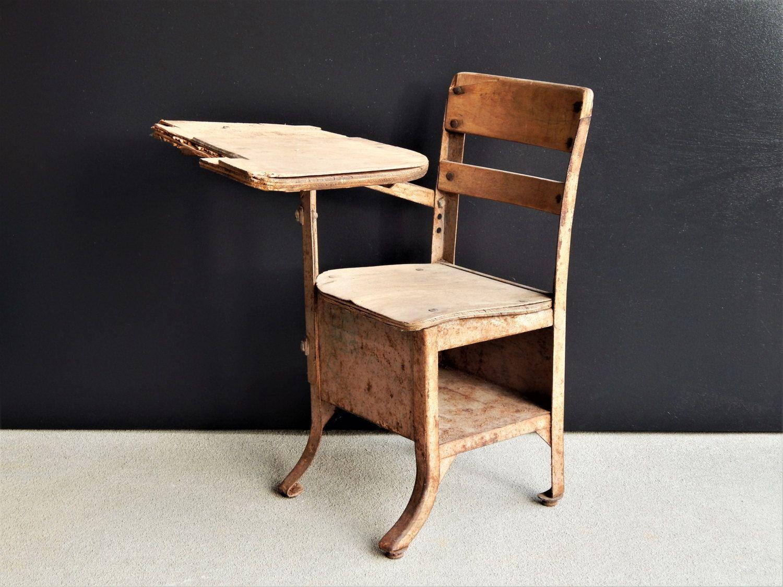 Small Vintage School Desk/Antique School Desk/Wood & Metal School Desk/Small  Decorative School Desk/Children's School Desk/Old Wood Desk - Small Vintage School Desk/Antique School Desk/Wood & Metal School