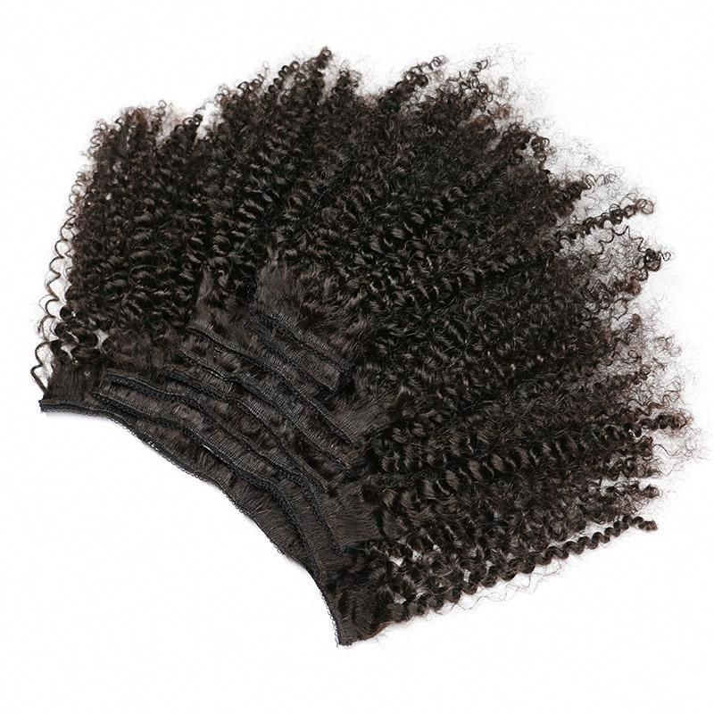 High Quality Unprocessed Brazilian Human Hair Afro Curly Clip In Hair Extensions #humanhairextensions