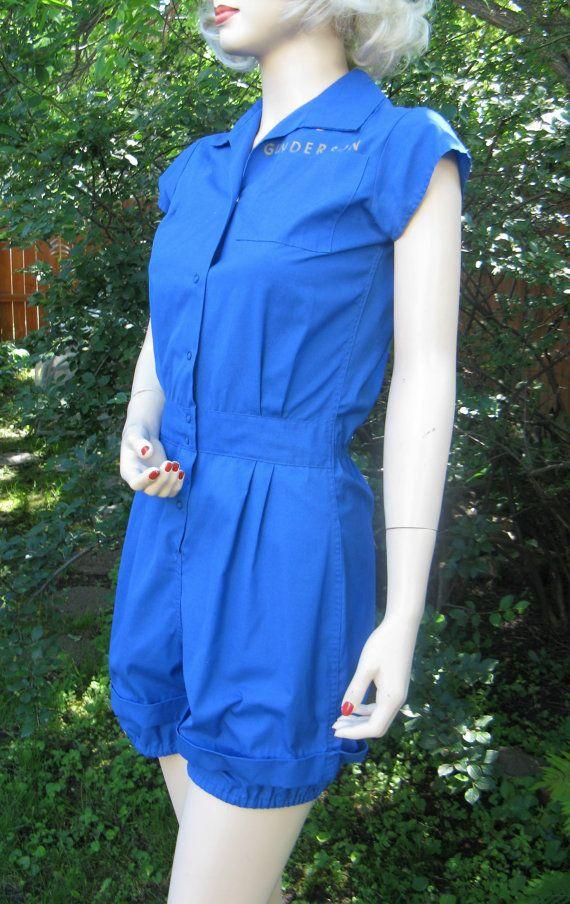 42e27b42a413 Vintage 1950s Womens Blue Gym Suit Romper by Moore
