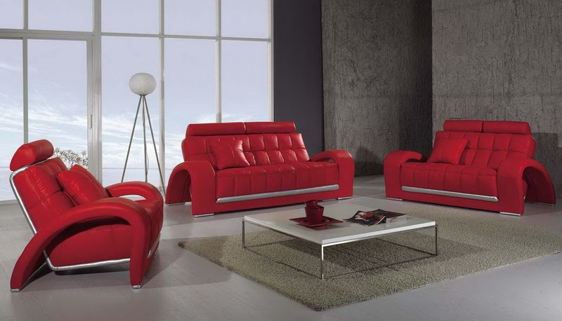 Modern Living Room Design with Red Leather Living Room Sofa ...