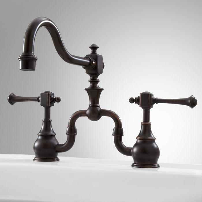 Vintage Bridge Kitchen Faucet In Lever Handles In Brushed Gold