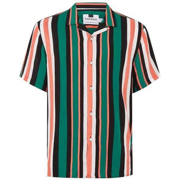 56b6235c TOPMAN Green And Orange Stripe Revere Shirt ($40) ❤ liked on Polyvore  featuring men's fashion, men's clothing, men's shirts, men's casual shirts,  orange, ...
