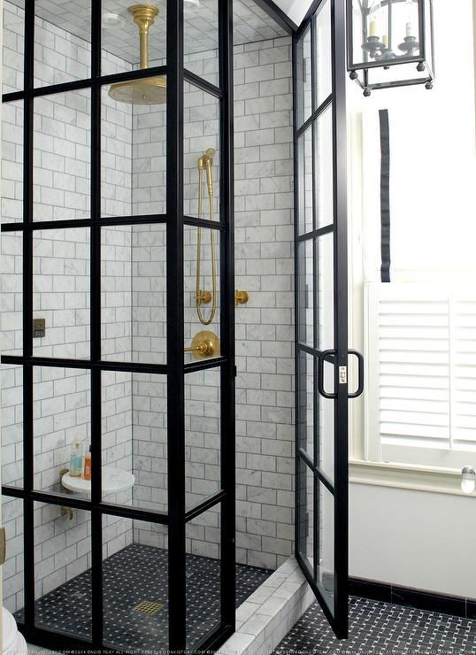 breathtaking black bathroom shower | Amazing bathroom features a glass and steel shower walk in ...