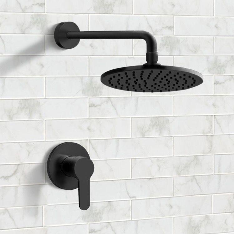 Matte Black Shower Faucet Set With 8 Rain Shower Head Shower