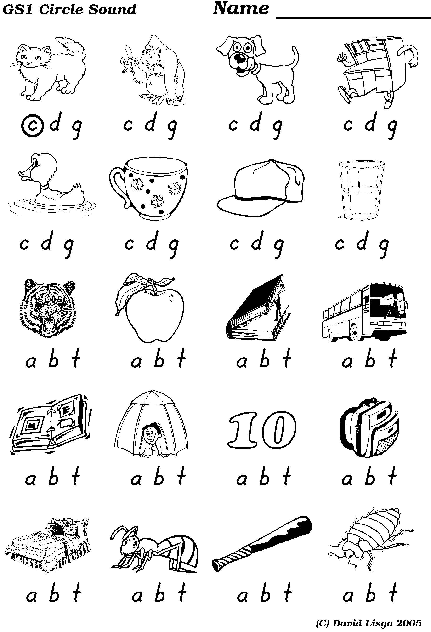 Work Sheets For Initial Sounds Of Words