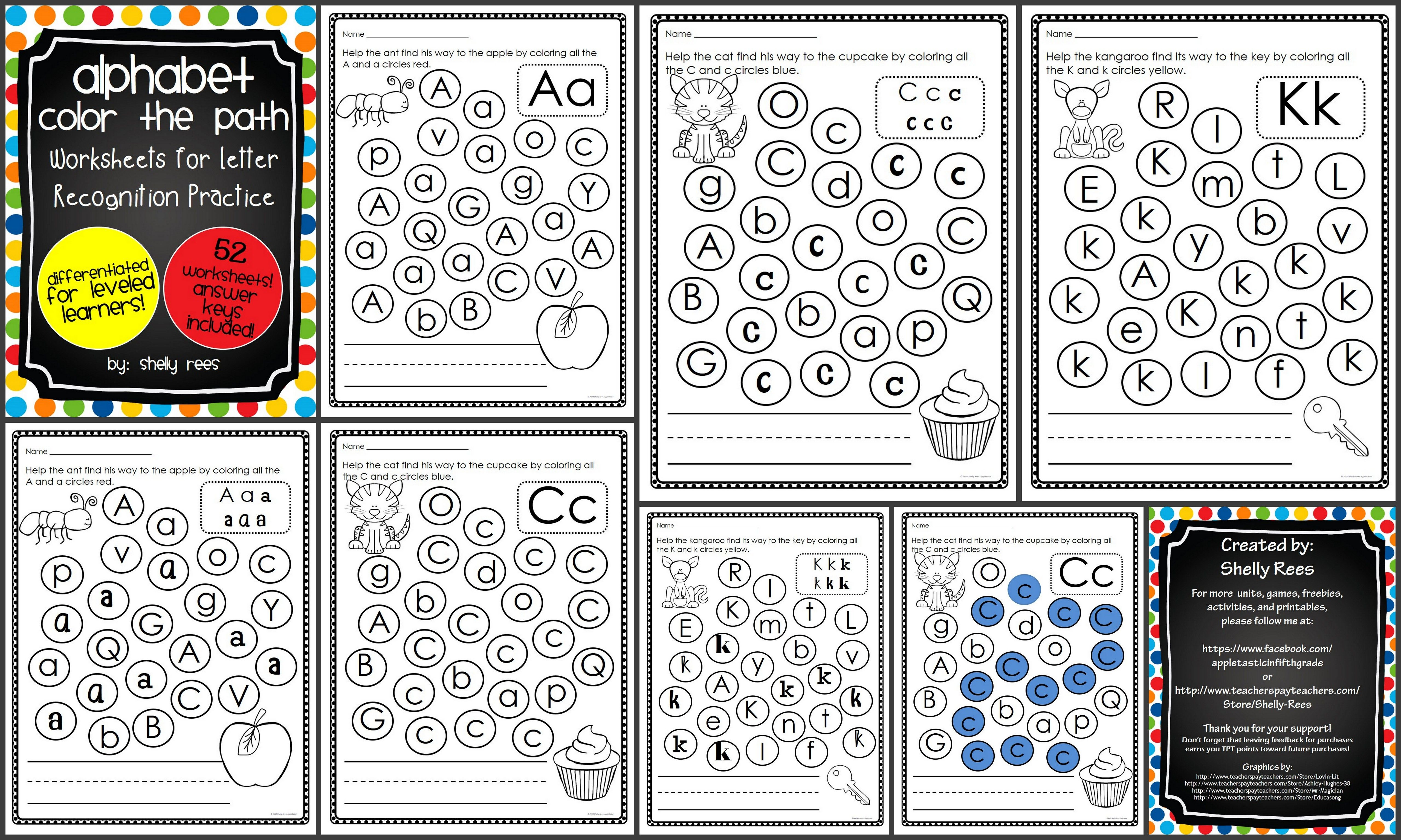 Letter Recognition - Color the Path Worksheet Packet. Perfect for PreK - 1st  grad…   Letter recognition worksheets [ 3072 x 5120 Pixel ]